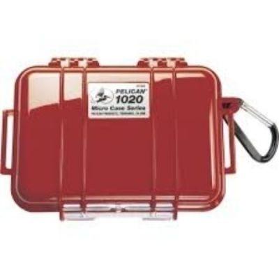 Case Micro, 1020 Black, Red, 6.82'' x 4.75'' x 2.12'' (17.3 x 12.1 x 5.4 cm), IP67, PELICAN (1020-025-170)