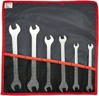 Set, Wrench, Extra-Slim Open End Double Sided Metric 6 Pcs, 8mm x 19mm, Chrome Finish, FACOM (31.JE6T)