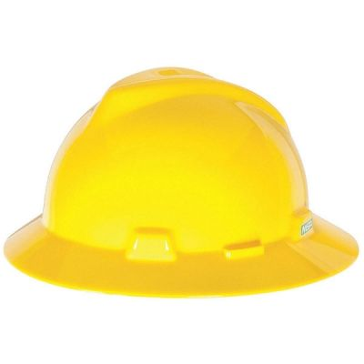 Hard Hat, Non - Slotted, Full Brim, Standard Suspension, Yellow, V-Gard Designed, MSA (454730)