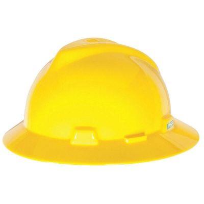 Hard Hat, Non - Slotted, Full Brim, Ratchet Suspension, Yellow, V-Gard Designed, MSA (475366)