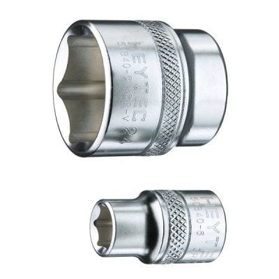 3/8'' Drive Socket Hexagon #50840-6, Metric 6 Point, Size 12mm, OAL Length Size 25.5mm, Chrome Plated, HEYTEC (50840601283)