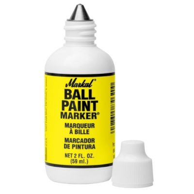 Markers Paint Permanent, Steel Ball Tip, Lead-Free, Non-Toxic, 59ML bottle type, Yellow Color, MARKAL (84621)