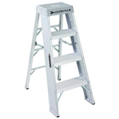 Ladder AY8000 Series, Industrial Step Stool, 4 steps ladder, Open Width: 21.3/4'', Open Depth: 32.3/8'', Load Capacity: 375lbs, Aluminium, LOUISVILLE (AY8004)