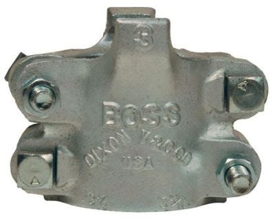 """Clamps #Boss Fitting Clamp 4 Bolt Type, 2 Gripping Fingers For Hose ID 1'', Hose OD From 1-34/64"""" (38.9mm) to 1-46/64"""" (43.7mm), Zinc Plated Iron, DIXON (BU14)"""