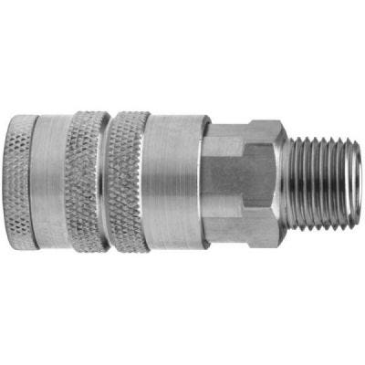Plug interchange quick connect Male Pipe Thread 1/4'' NPT, Body Size: 1/4'', Rated: 300 PSI, Temperature Range: -40 Deg F to 250 Deg F, Flow: 37 CFM at 100 PSI, Steel, DIXON (DCP21)
