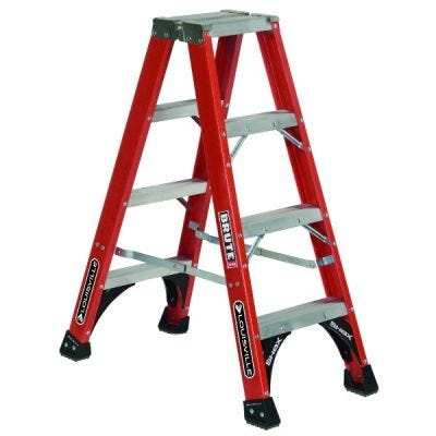 Ladder FM1400HD Series, Twin Front Ladder, 4 steps ladder, Open Width: 19.9/16'', Open Depth: 37.1/2'', Load Capacity: 375lbs, fiberglass, LOUISVILLE (FM1404HD)