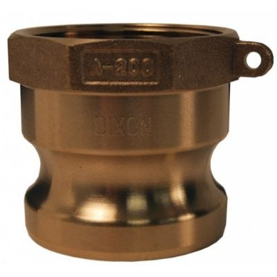Adapter, Global Cam & Groove Type A Female NPT x Male Adapters, Size 1/2'', Maximum Operating Pressure 150 PSI, ASTMC38000 Forged Brass, DIXON (G50-A-BR)