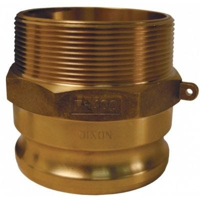 Adapter, Global Cam & Groove Type F Male NPT x Male Adapter, Size 3/4'', Maximum Operating Pressure 250 PSI, ASTMC38000 Forged Brass, DIXON (G75-F-BR)