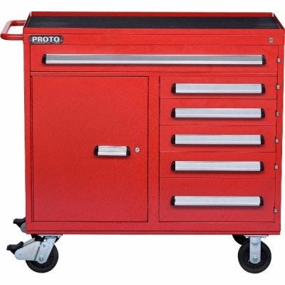 Storage Workstation LxHxD, 45'' x 45.1/2'' x 21.3/8'', 6 Drawers, 1 Compartment,Red