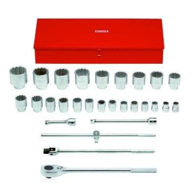 1'' Drive Socket Standard Set 12 Point, 1.1/16''-3.1/2'' AF x 29 pcs/Set, 24 Standard Socket, 5 accs, metal case, steel chrome finish, PROTO (J57104)