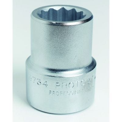 1'' Drive Socket Standard 12 Point 1.1/4'' AF, 2.1/2'' OAL, steel chrome finish, PROTO (J5740)