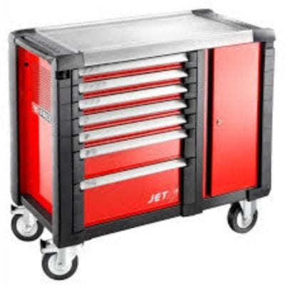 Mobile Workbench JET.M3 7 Drawers Red – 3 Modules Per Drawer, FACOM (JET.T7M3)