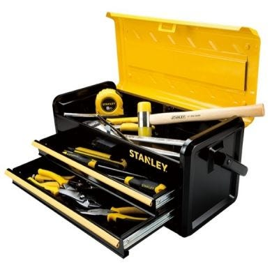 Metal Toolbox 19'' With One Hand Open Two Drawer, 471 x 221 x 236 mm, STANLEY (STST73101-8)